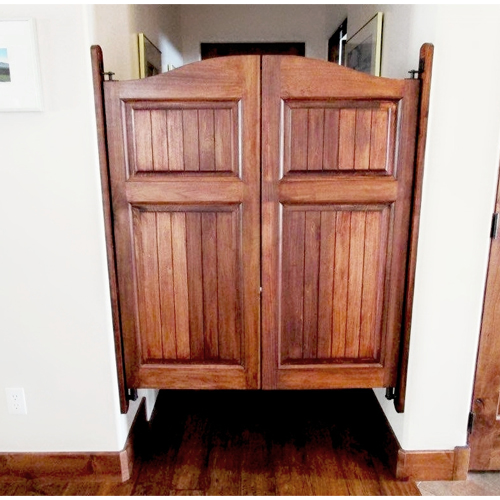 Craftsman Arch Top Saloon Doors Installed with Trim Boards