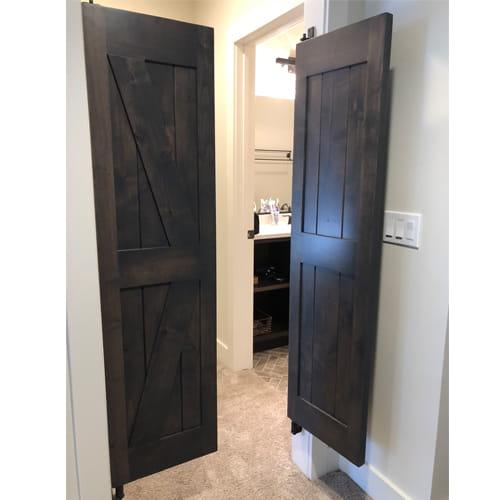 Open Master Bathroom Doors- Interior Barn Style Doors - British Brace