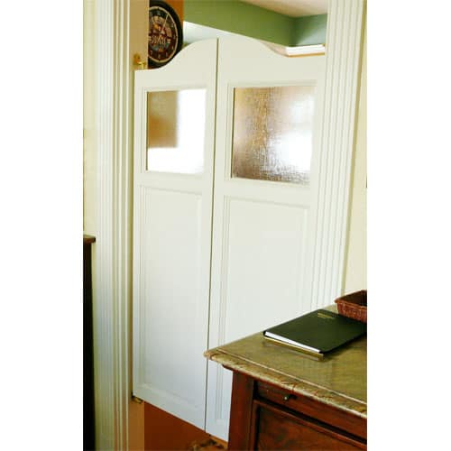 Country Arch Top Saloon Doors with Glass Panel